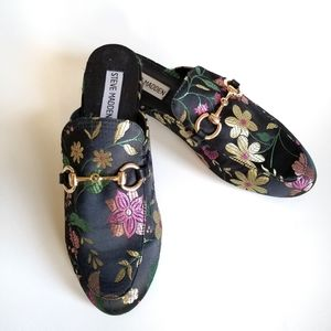 Steve Madden Floral Embroidered Slip On Mules